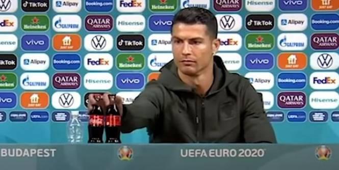 Foot - Euro - WTF - Paul Pogba et Cristiano Ronaldo dribblent les bouteilles des sponsors de l'Euro